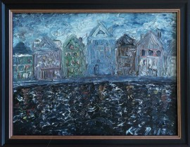 Quay Of Amsterdam original painting by Kristina Česonytė. Oil painting